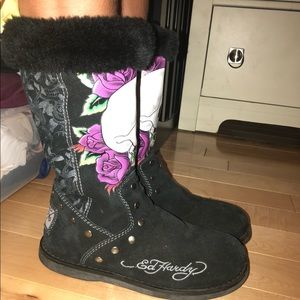 Tall EdHardy Skull Boots